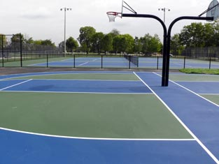 Basketball Court in Foreground, Tennis Court in Background